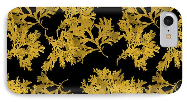 IPhone Case featuring the mixed media Black Gold Leaf Pattern by Christina Rollo