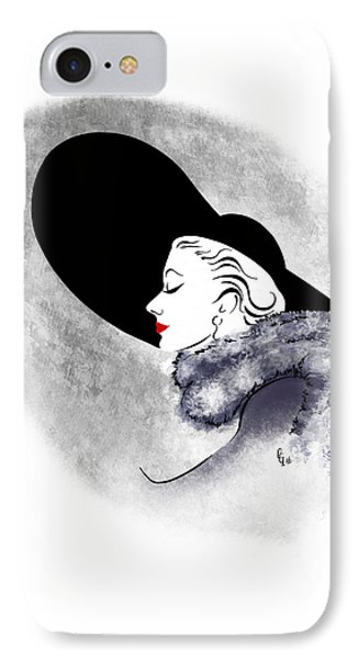IPhone Case featuring the digital art Black Hat Red Lips by Cindy Garber Iverson
