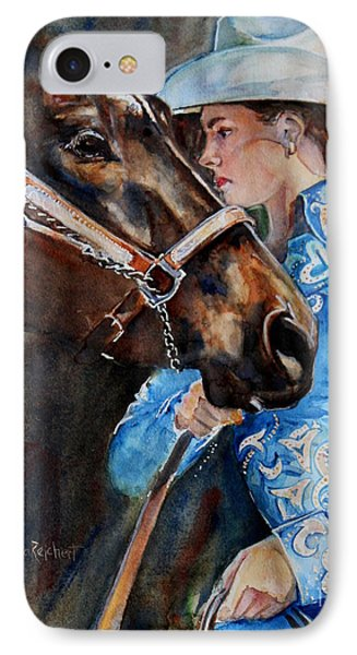 Black Horse And Cowgirl   Phone Case by Maria's Watercolor