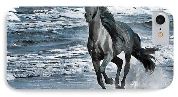 Black Horse Running Through Water Phone Case by Lanjee Chee