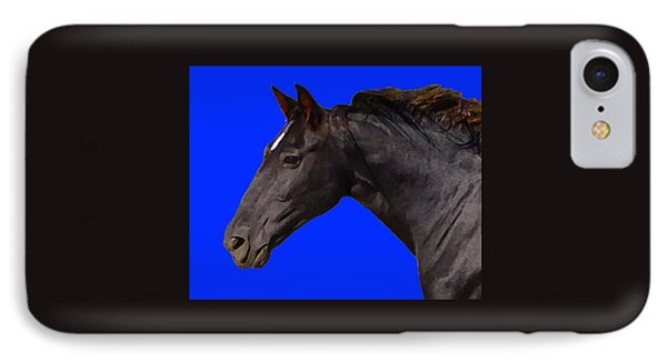 IPhone Case featuring the digital art Black Horse Spirit Blue by Jana Russon