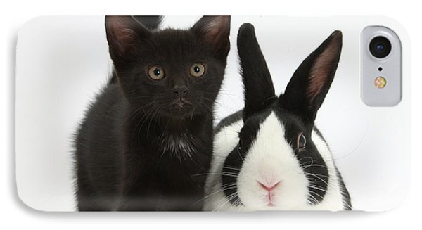 Black Kitten And Dutch Rabbit Phone Case by Mark Taylor