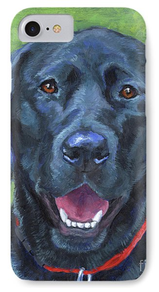 Black Lab On Grass IPhone Case by Hope Lane