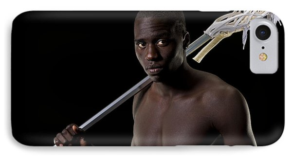 Black Lacrosse Player IPhone Case by Jim Boardman