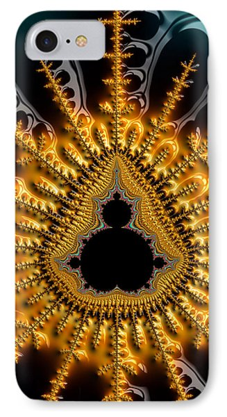 Black Mandelbrot Set Surrounded By Luxe Golden And Brown Tones IPhone Case by Matthias Hauser