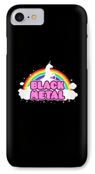 Unicorn iPhone 7 Case - Black Metal Funny Unicorn / Rainbow Mosh Parody Design by Philipp Rietz