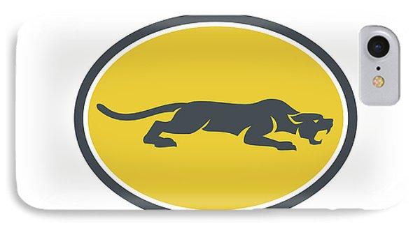 Black Panther Prowling Oval Retro IPhone Case by Aloysius Patrimonio