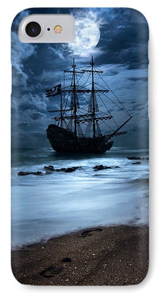Black Pearl Pirate Ship Landing Under Full Moon IPhone Case by Justin Kelefas
