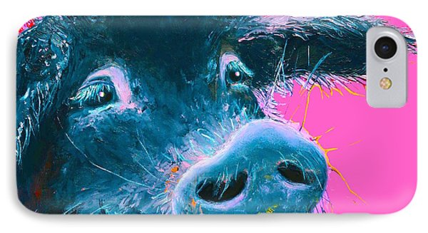 Black Pig Painting On Pink Background IPhone Case