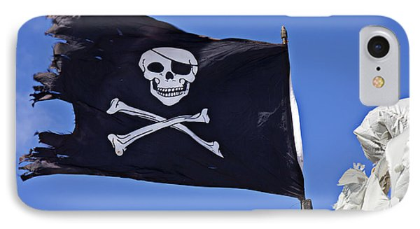 Black Pirate Flag  Phone Case by Garry Gay