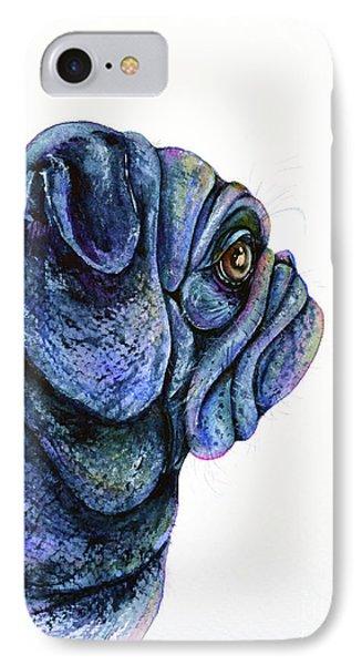 IPhone Case featuring the painting Black Pug by Zaira Dzhaubaeva