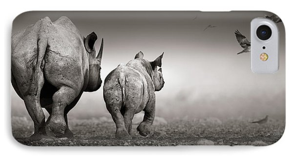 Black Rhino Cow With Calf  IPhone Case