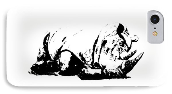 IPhone Case featuring the ceramic art Black Rhino by Elizabeth Lock