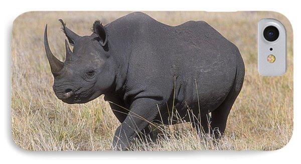 Black Rhino On The Masai Mara Phone Case by Sandra Bronstein