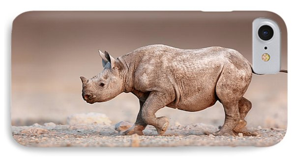 Black Rhinoceros Baby Running IPhone Case by Johan Swanepoel