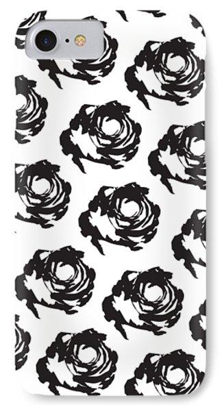 Black Rose Pattern IPhone 7 Case by Cortney Herron