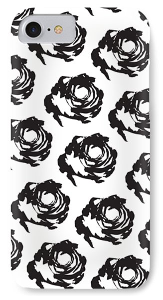 Black Rose Pattern IPhone Case by Cortney Herron