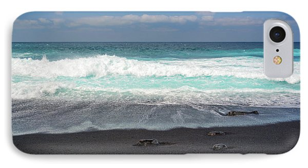 IPhone Case featuring the photograph Black Sand Beach by Delphimages Photo Creations