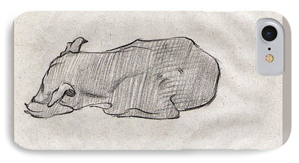 Black Sketch Of A Dog Sleeping From Front Left  IPhone Case by Makarand Joshi