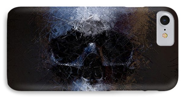 IPhone Case featuring the digital art Black Skull by Vitaliy Gladkiy