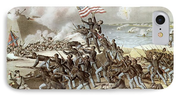 Black Troops Of The Fifty Fourth Massachusetts Regiment During The Assault Of Fort Wagner IPhone Case by American School