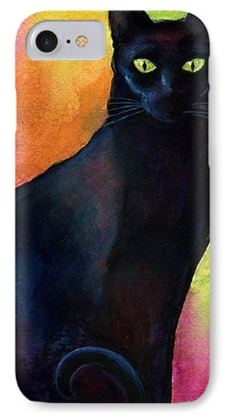 Black Watercolor Cat Painting By IPhone Case