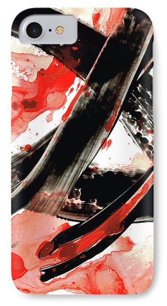 IPhone Case featuring the painting Black White Red Art - Tango - Sharon Cummings by Sharon Cummings