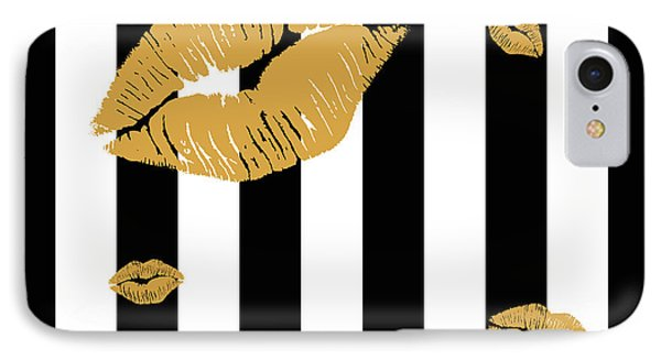 Black White Stripes And Golden Lips IPhone Case