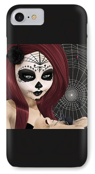 Black Widow Sugar Doll IPhone Case by Methune Hively