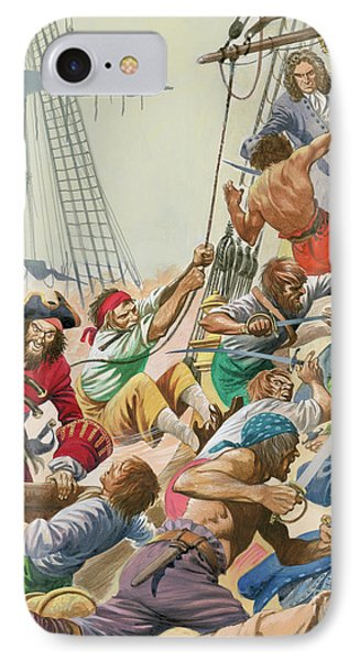 Blackbeard And His Pirates Attack IPhone Case by Peter Jackson