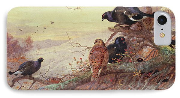 Blackgame In Winter  IPhone Case by Archibald Thorburn