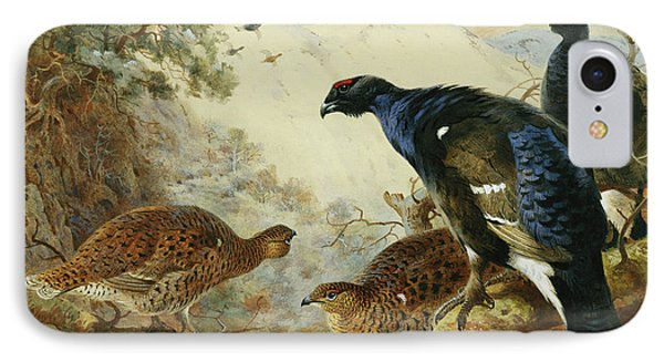 Blackgame Or Black Grouse IPhone Case by Archibald Thorburn