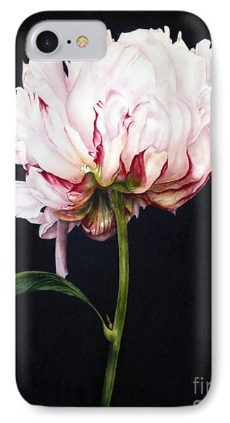 Peony On Black IPhone Case by Marie Burke