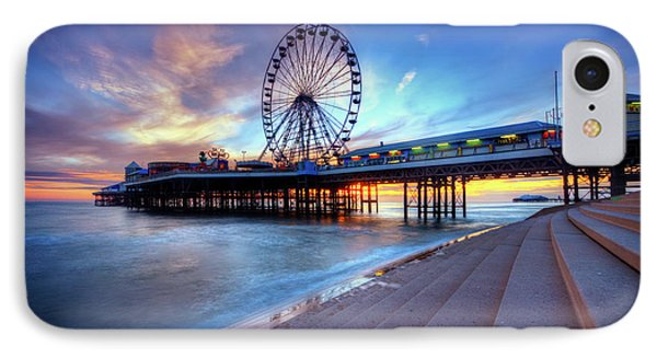 IPhone Case featuring the photograph Blackpool Pier Sunset by Yhun Suarez
