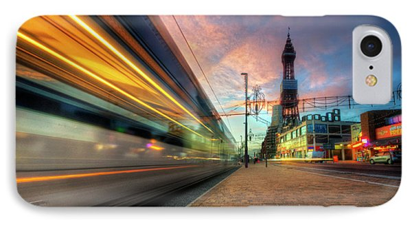 IPhone Case featuring the photograph Blackpool Tram Light Trail by Yhun Suarez