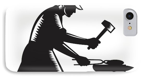 Blacksmith Worker Forging Iron Black And White Woodcut IPhone Case