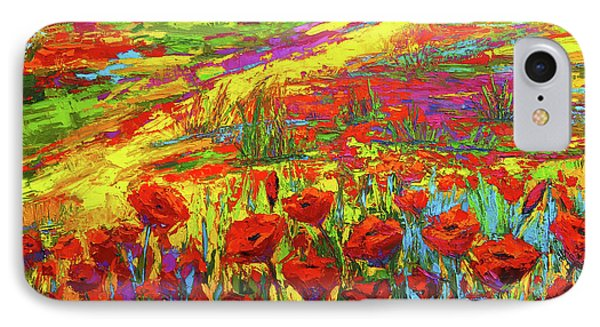 Blanket Of Joy Modern Impressionistic Oil Painting Of Poppy Flower Field IPhone Case by Patricia Awapara