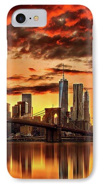 Blazing Manhattan Skyline IPhone 7 Case by Az Jackson