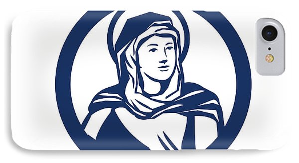 Blessed Virgin Mary Circle Retro IPhone Case
