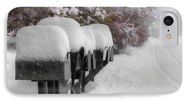Blizzard Mailboxes IPhone Case by Lori Deiter