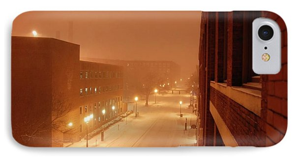 IPhone Case featuring the photograph Blizzard Market Street Lowell Ma by Mary McAvoy