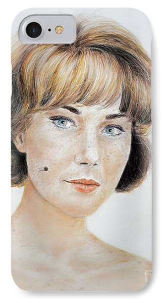 Blonde Beauty With Bangs IPhone Case by Jim Fitzpatrick