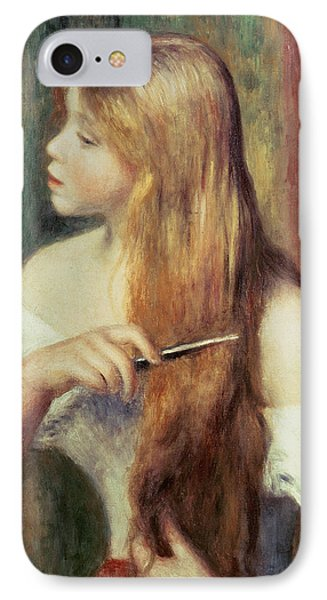 Blonde Girl Combing Her Hair Phone Case by Pierre Auguste Renoir