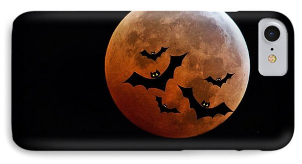 Blood Full Moon And Bats IPhone Case by Marianna Mills