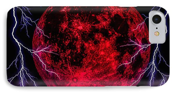 Blood Moon Over Mist Lake IPhone Case by Naomi Burgess