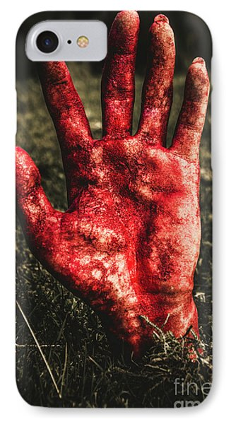 Blood Stained Hand Coming Out Of The Ground At Night IPhone Case by Jorgo Photography - Wall Art Gallery