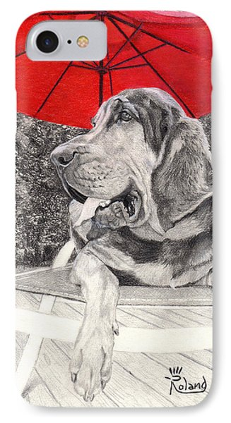 Bloodhound Under Umbrella IPhone Case by Tracy Dupuis Roland