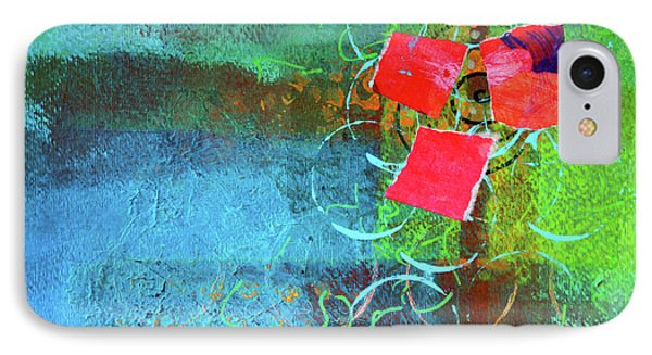 IPhone Case featuring the mixed media Bloom Abstract Collage by Nancy Merkle