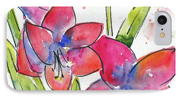 IPhone Case featuring the painting Blooming Amaryllis by Pat Katz