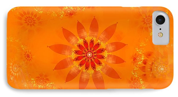 IPhone Case featuring the digital art Blossom In Orange by Richard Ortolano